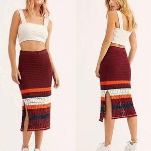 NWT Free People Far From Here Midi Skirt
